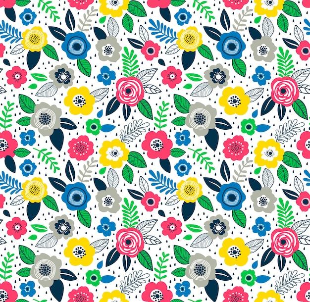 小さな花のかわいい花柄。ちっぽけなプリント。シームレスなテクスチャ。ファッションプリントのエレガントなテンプレート。小さな色とりどりの花で印刷。白色の背景。