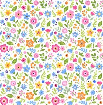 小さな花でかわいい花柄。頭が変なプリント。シームレスなベクターテクスチャ。