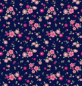 小さな花でかわいい花柄。頭が変なプリント。シームレス。