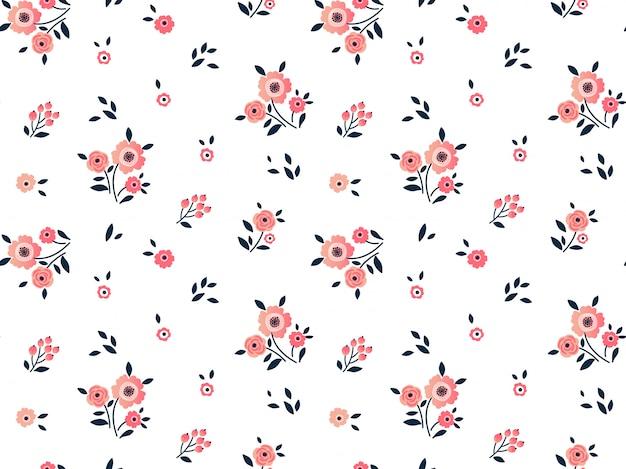 小さなピンクの花でかわいい花柄。頭が変なプリント。シームレス。