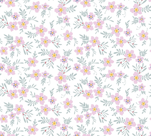 かわいい花柄。ピンクの花。
