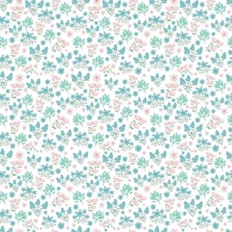 귀여운 꽃 패턴 흰색 배경에 예쁜 봄 꽃