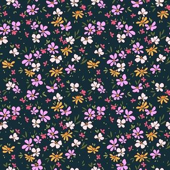 Симпатичный цветочный узор бесшовные печати разноцветные цветы темно-синий фон