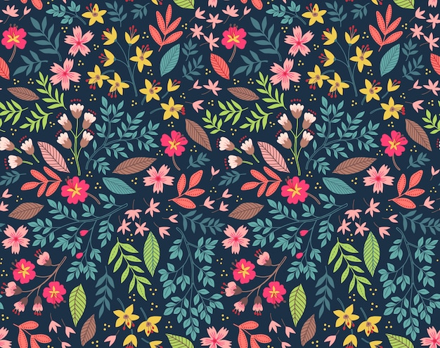 Cute floral pattern in the small colorful flowers. seamless vector background.