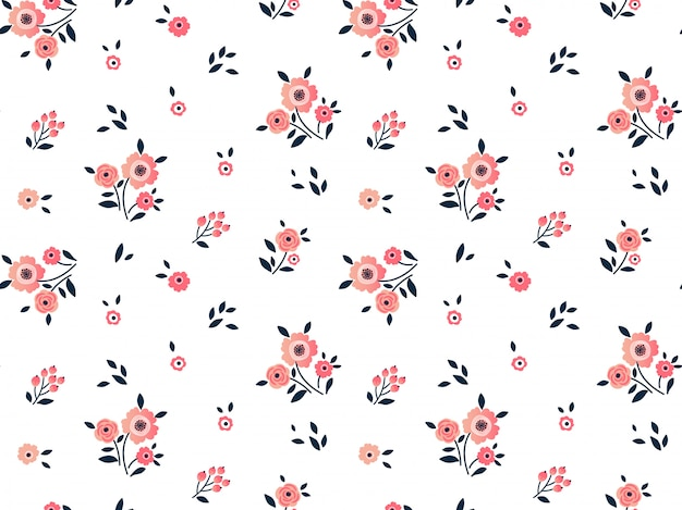Cute floral pattern in the small pink flowers. ditsy print. seamless  .