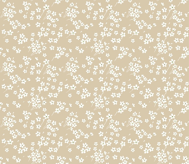 Cute floral pattern in the small white flowers. seamless  texture. beige background.