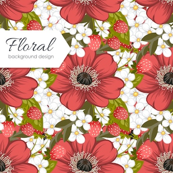 色とりどりの花でかわいい花柄