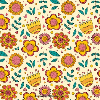 Cute floral pattern with hand drawn leaves