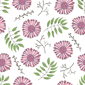Милый цветочный узор с нежными розовыми цветами