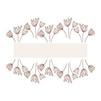 카드 텍스트 분기와 손으로 그린 낙서 만화 스타일 템플릿에 귀여운 꽃 식물 잎