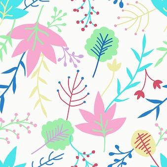 Cute floral seamless pattern design on white background.