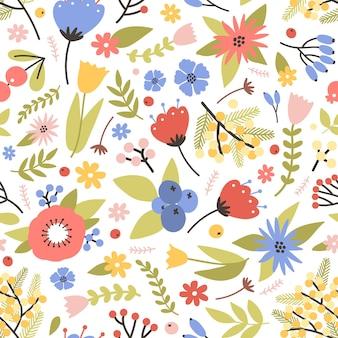 白に咲く春の植物とかわいい花のシームレスなパターン