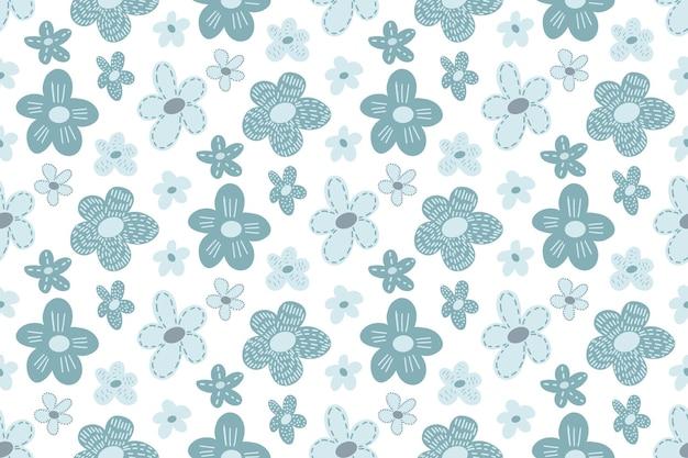 シンプルな子供っぽいスカンジナビアスタイルの手描き落書き花とかわいい花のシームレスなパターン