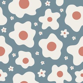 파란색 배경에 작고 큰 추상 흰색 꽃과 귀여운 꽃 원활한 패턴