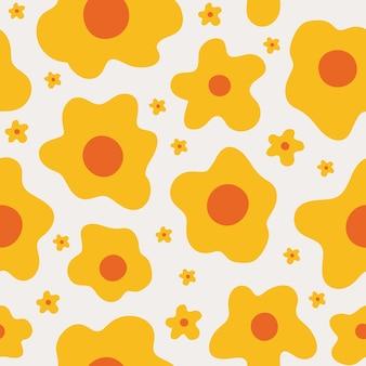 파스텔 배경에 작고 큰 추상 노란색 꽃과 귀여운 꽃 원활한 패턴