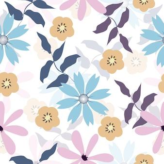 かわいい花の表面パターンのシームレスな背景