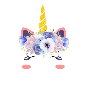 Cute floral unicorn