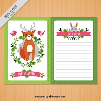 Cute floral vintage card with animals