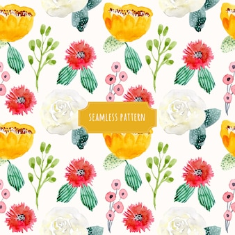 Cute floral watercolor seamless pattern