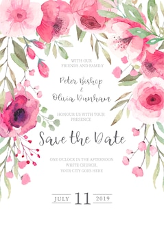 Cute floral wedding invitation ready to print