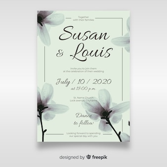 Cute floral wedding invitation template