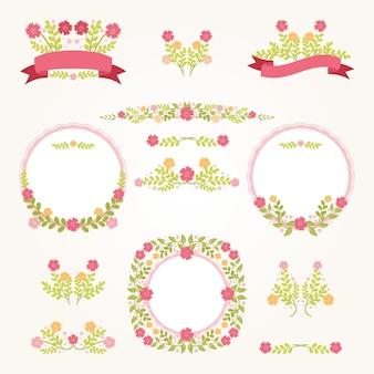 かわいい花の結婚式のロゴのコレクション