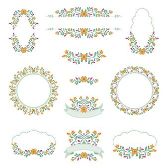 Симпатичная цветочная свадебная коллекция логотипов