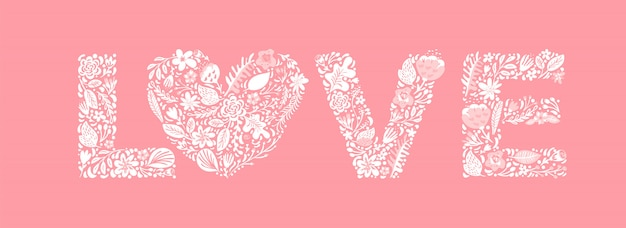 Cute floral word love. flower capital wedding uppercase letters