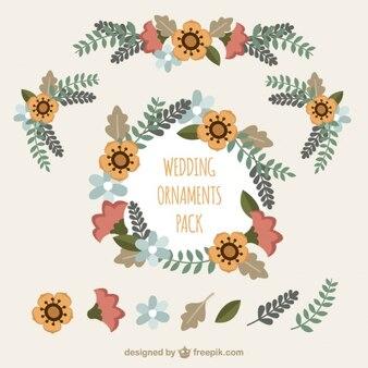 귀여운 꽃 화환과 꽃 웨딩 요소