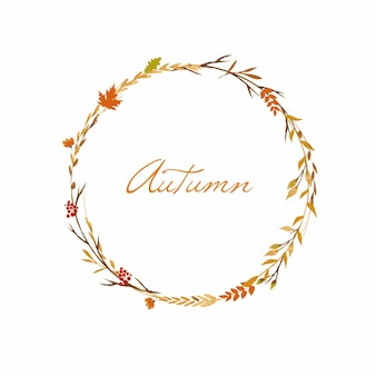 Cute floral wreath for autumn holidays with flowers leaves and herbs