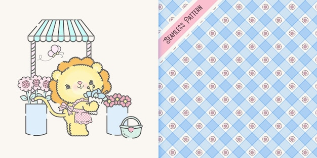 Cute florist  cartoon lion with checkered and flowers seamless pattern premium