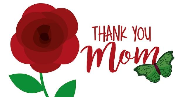 Симпатичный цветок и бабочка спасибо маме баннер