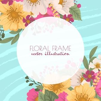 かわいい花のボーダー-ホットピンクの花