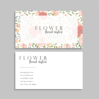 Cute flower business cards template