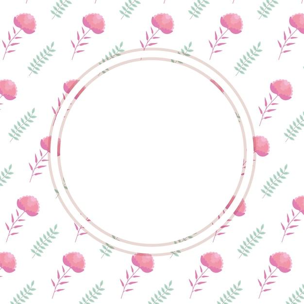 빈 동그라미와 귀여운 꽃 카드