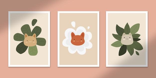 귀여운 꽃 고양이 추상 포스터 아트 손으로 그린 모양 커버 세트 컬렉션 벽 인쇄 장식