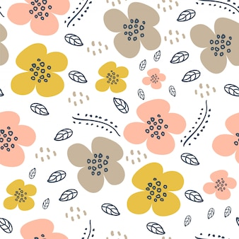 Cute flower hand drawn scandinavian seamless pattern