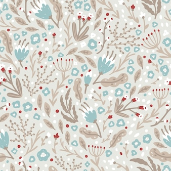 Cute flower pattern made of small winter flowers in a simple scandinavian style. seamless pattern