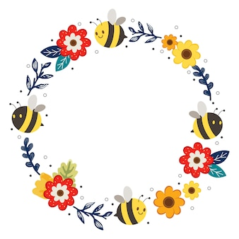 The cute flower ring and bee frame. the character of cute bee and flower wreath. the character of cute bee in flat vector style.