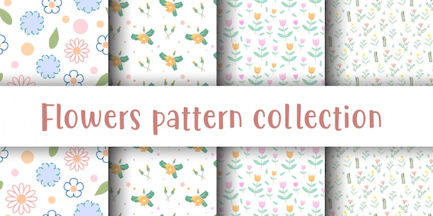 Cute flower seamless pattern collection.