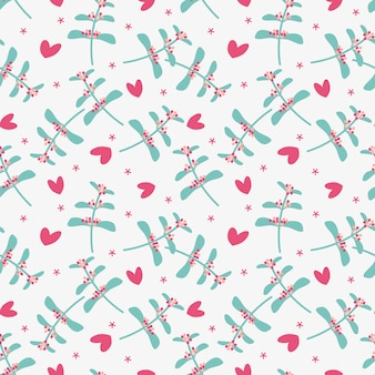 Cute flower and tiny heart seamless pattern.
