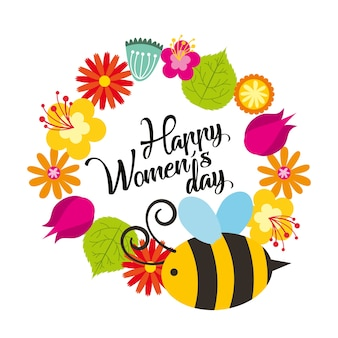 Cute flowers and bee natural decoration happy womens day poster
