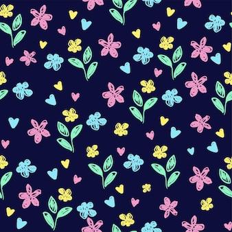 섬유에 대한 귀여운 꽃 파란색 배경 인쇄입니다. 그려진된 작은 꽃 직물에 대 한 아름 다운 그림입니다. 원활한 디자인 장식 패턴입니다. 벡터