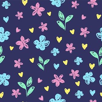 섬유 벡터 일러스트 레이 션에 대 한 귀여운 꽃 파란색 배경 인쇄입니다. 그려진된 작은 꽃 직물에 대 한 아름 다운 그림입니다. 원활한 디자인 장식 패턴입니다.