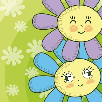 Cute flowers cartoons over colorful background