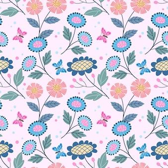 かわいい花のデザインと蝶のシームレスなパターン。