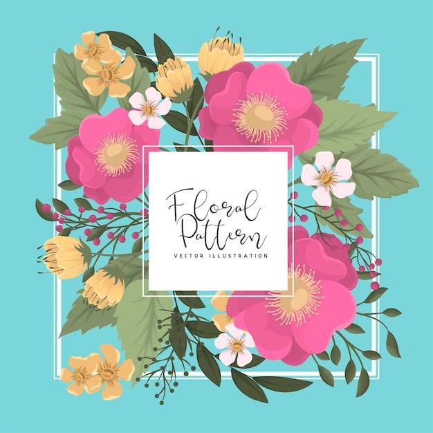 かわいい花のフレーム-ホットピンクの花