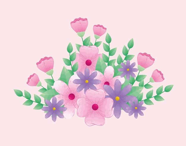 Милые цветы розового и фиолетового цвета с ветвями и листьями