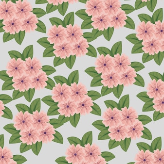 Cute flowers plants with leaves style