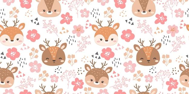 Cute flowers and reindeer seamless pattern
